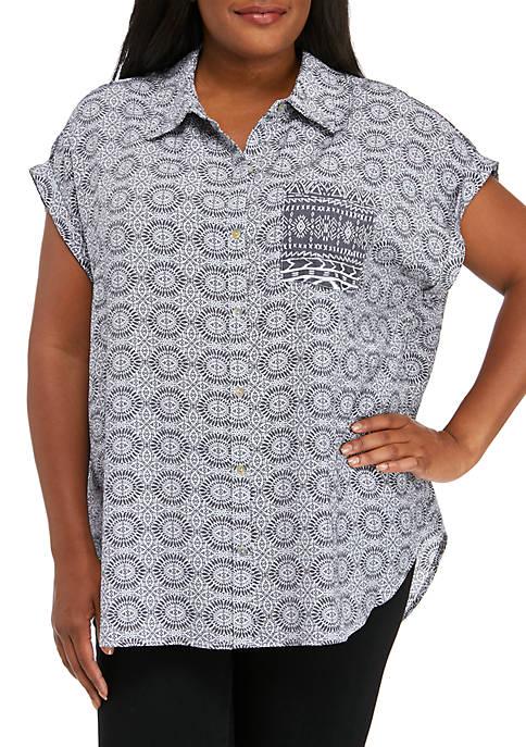 Plus Size Cap Sleeve Printed Liano Top