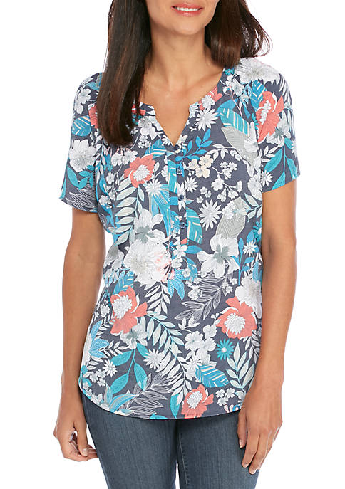 Kim Rogers® Petite Short Sleeve Liano Floral Print