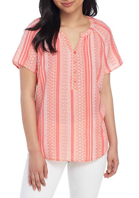 Kim Rogers® Petite Short Sleeve Liano Stripe Shirt
