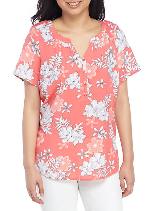 Petite Short Sleeve Floral Liano Shirt