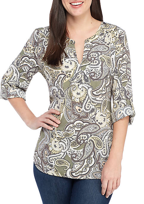 Kim Rogers® Allover Paisley Print Liano Top