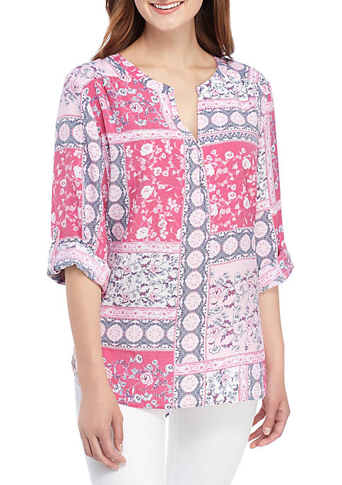 Kim Rogers® Patchwork Print Roll Tab Sleeve Liano