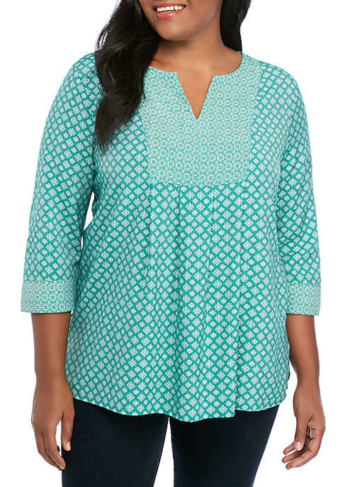 Kim Rogers® Plus Size 3/4 Sleeve Liano Top