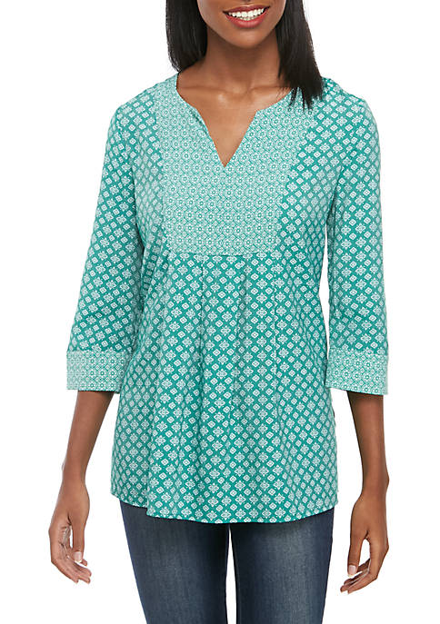 Kim Rogers® Twin Print Peasant Top