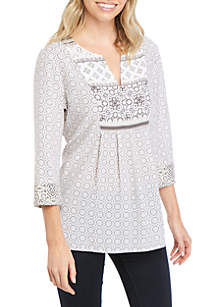 Kim Rogers® Petite 3/4 Sleeve Twin Print Liano Top