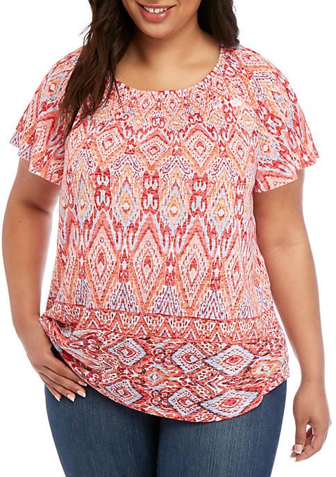 Kim Rogers® Plus Size Short Sleeve Smocked Burnout