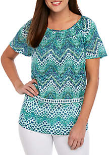 Kim Rogers® Short Sleeve Sheered Burnout T Shirt