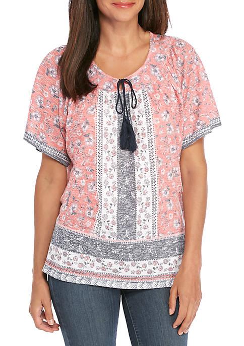 Kim Rogers® Petite Short Sleeve Knit Printed T