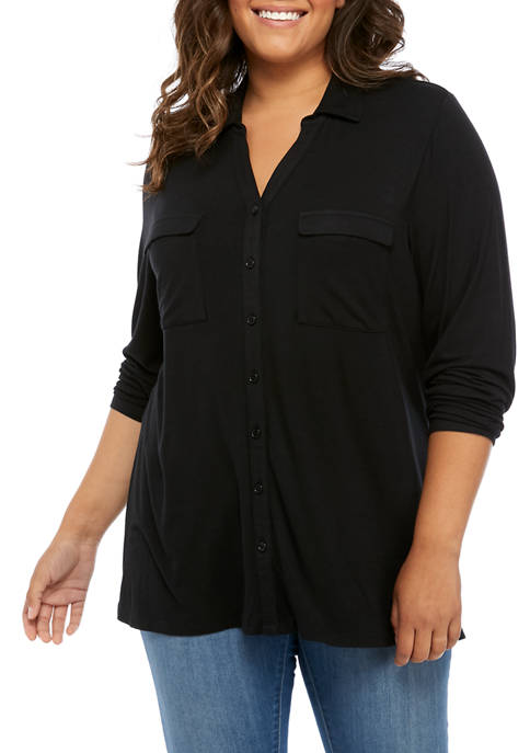 Kim Rogers® Plus Size Button Up Top