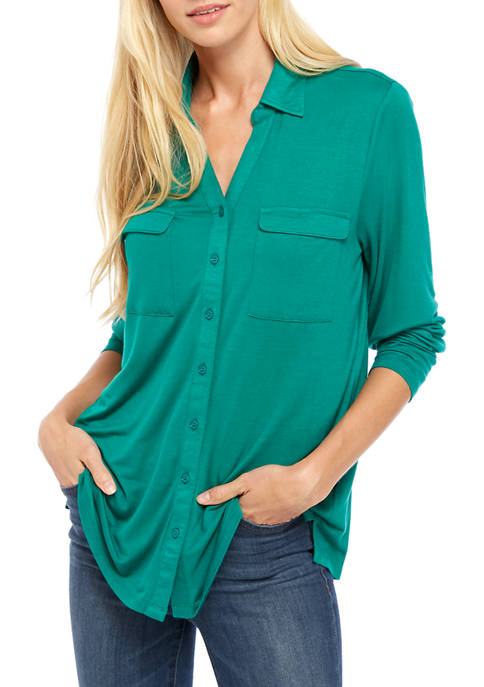 Kim Rogers® Womens Long Sleeve Button Up Top