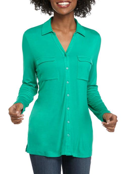 Womens Long Sleeve Button Up Top