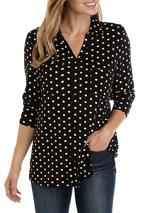 Womens Long Sleeve Button Up Printed Top