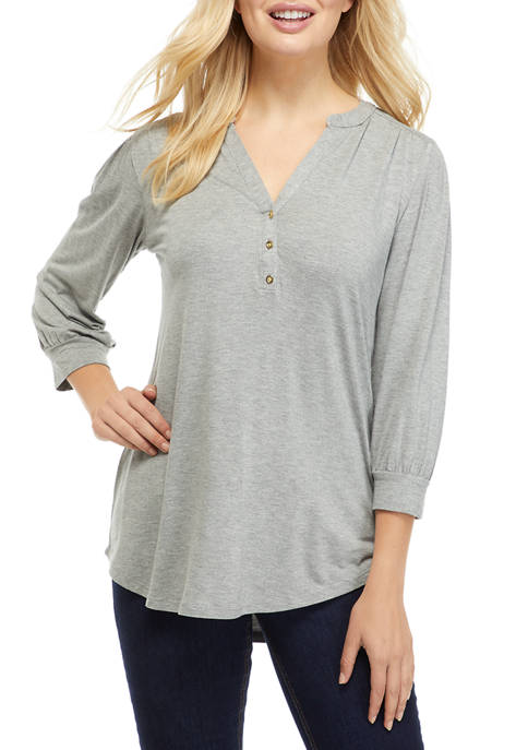 Kim Rogers® Womens 3/4 Sleeve Henley Solid Top