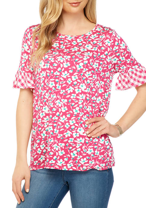 Kim Rogers® Womens Flutter Sleeve Printed Knit Top