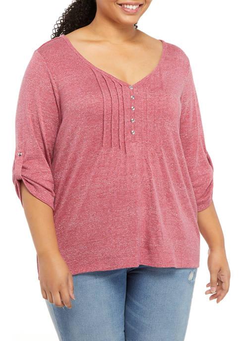 Kim Rogers® Plus Size LUREX® Honeycomb Henley Top