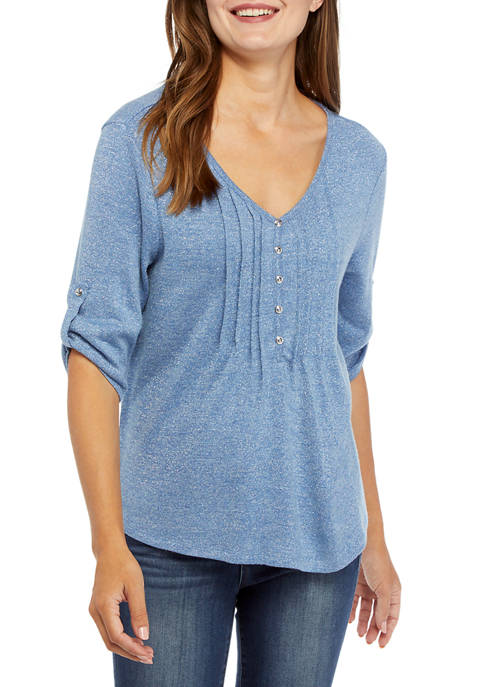 Kim Rogers® Womens Roll Tab Honeycomb LUREX® Shirt