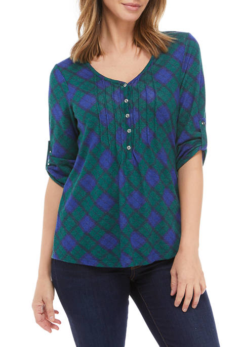 Kim Rogers® Womens 3/4 Sleeve Honeycomb Plaid Top