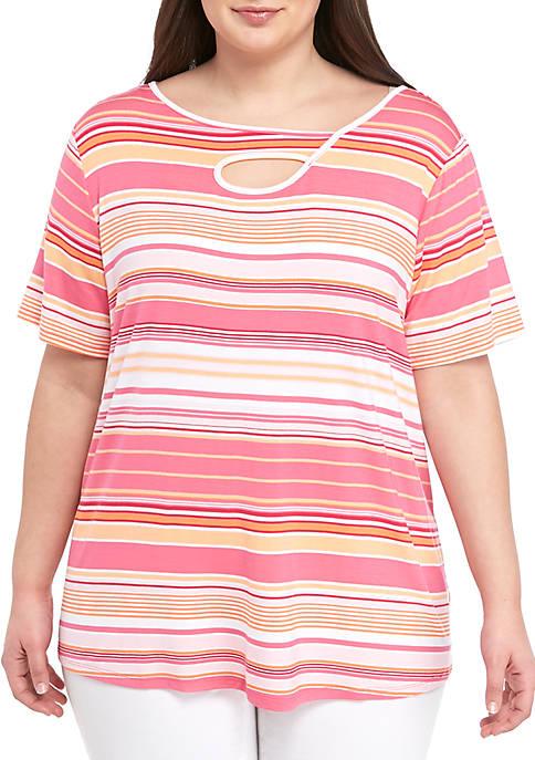 Plus Size Short Sleeve Peek a Boo Stripe Top