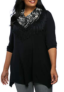 Plus Size Shark-Bite Scarf Top