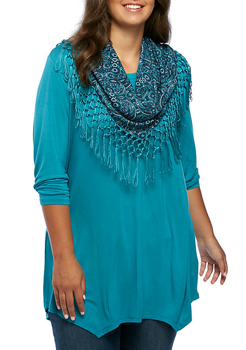 Kim Rogers® Plus Size Shark-Bite Scarf Top
