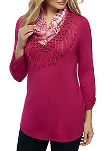 Ruched Sleeve Scarf Neck Top