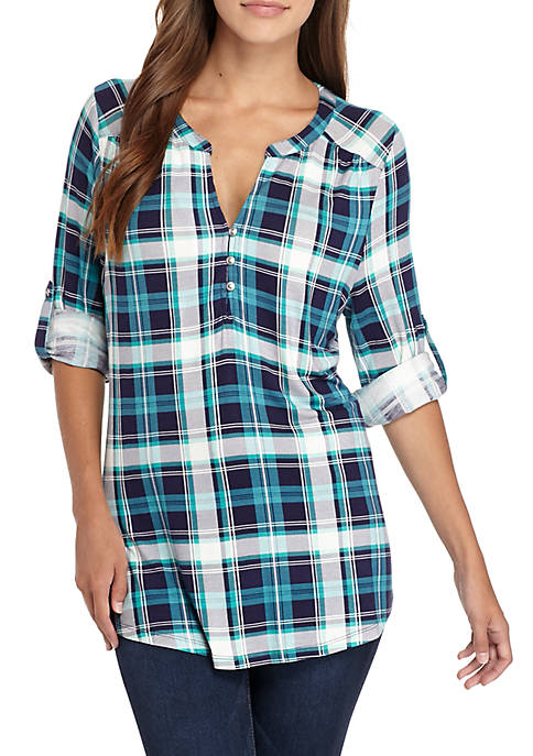 Kim Rogers® Three-Quarter Sleeve Popover Knit Plaid Top