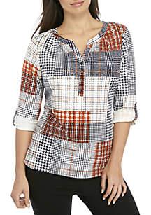 Kim Rogers® Petite 3/4 Roll-Tab Sleeve Patchwork Print Knit Top