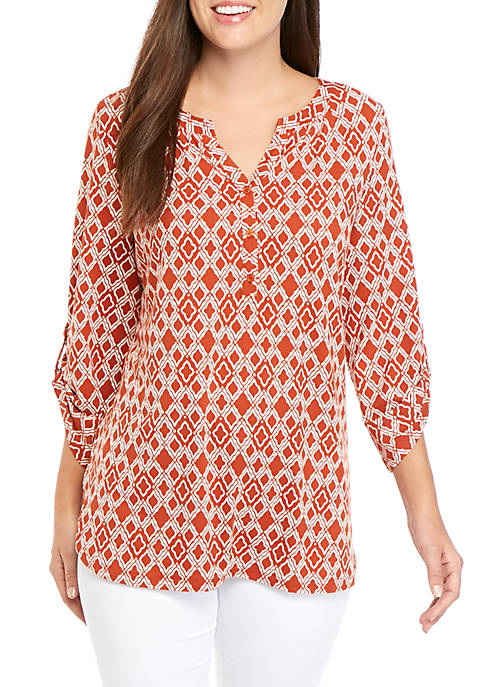 Kim Rogers® 3/4 Roll Tab Sleeve Printed Top