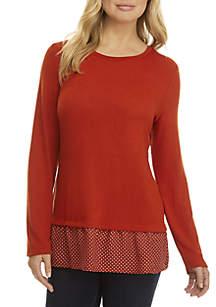 Pattern Trim Sweater 2Fer