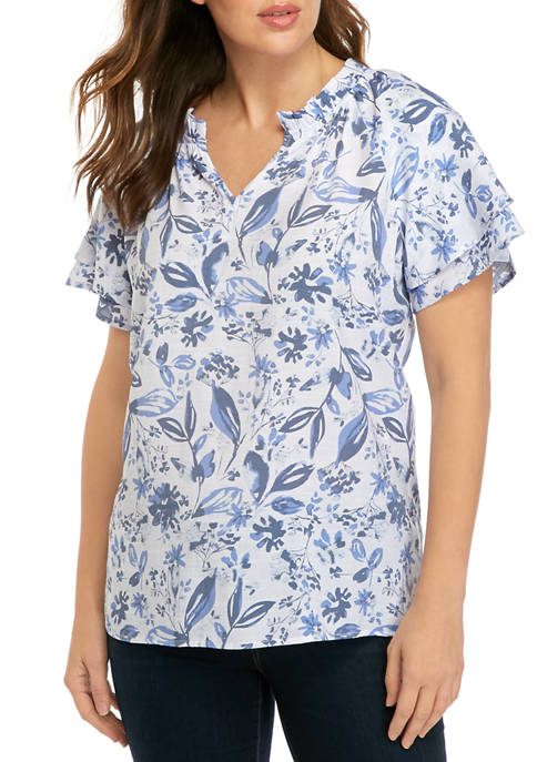 Kim Rogers® Womens Short Sleeve Split Neck Floral