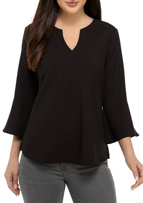 Kim Rogers® Womens Sophie 3/4 Bell Sleeve Split