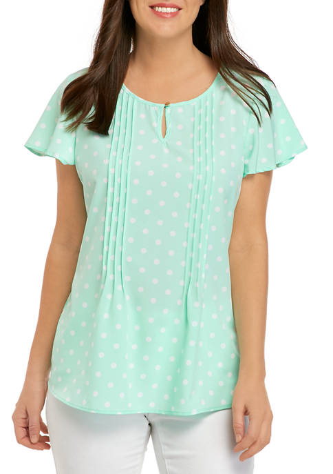 Kim Rogers® Womens Flutter Sleeve Sophie Pin Tuck