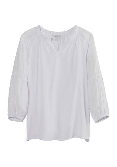 Kim Rogers® Petite Ruffle Neck 3/4 Sleeve Liano