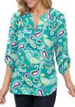 Womens 3/4 Sleeve Split Neck Woven Tunic