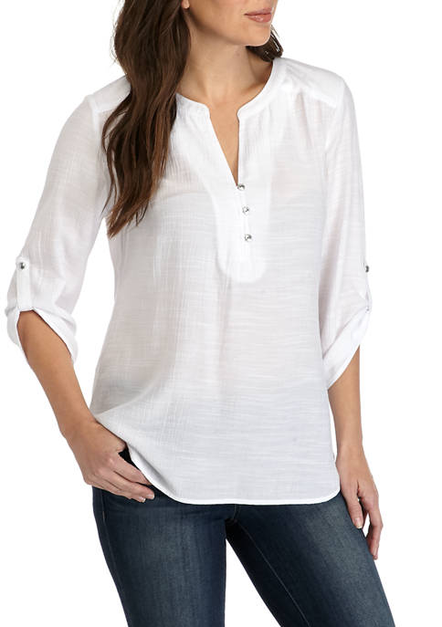 Womens 3/4 Sleeve Henley Tunic