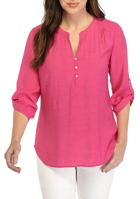 Kim Rogers® Womens 3/4 Sleeve Henley Tunic