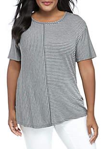 c8382985bafb ... Kim Rogers® Plus Size Short Sleeve Multi Stripe T Shirt