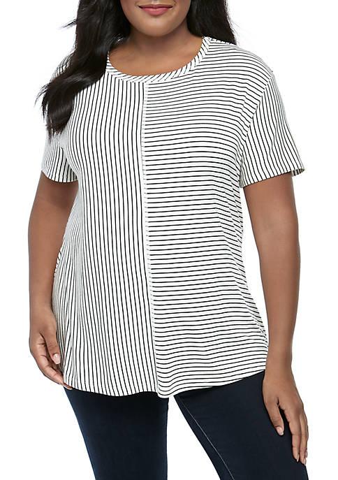 Plus Size Short Sleeve Multi Stripe T Shirt