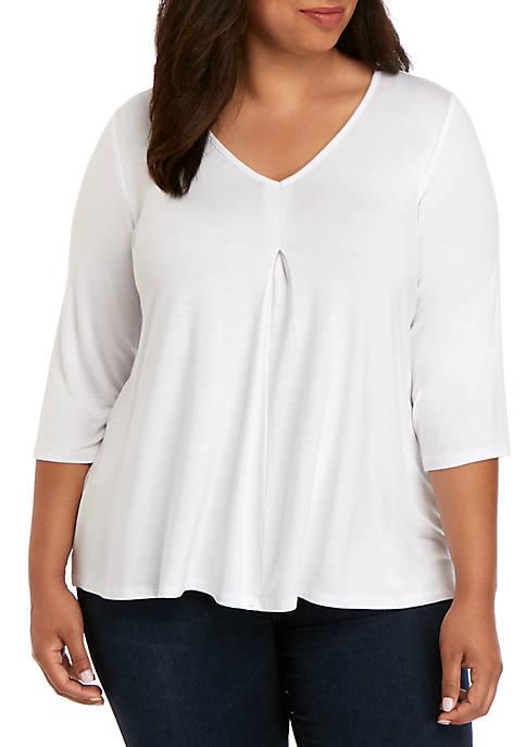 Kim Rogers® Plus Size Elbow Sleeve Pleat Top