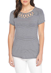 Short Sleeve Stripe Caged Neck Tee