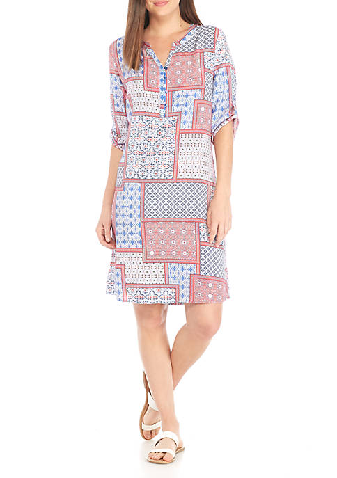 Kim Rogers® Petite Short Sleeve Liano Patchwork Dress