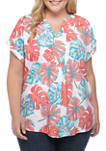 Plus Size Printed Short Sleeve Popover Top