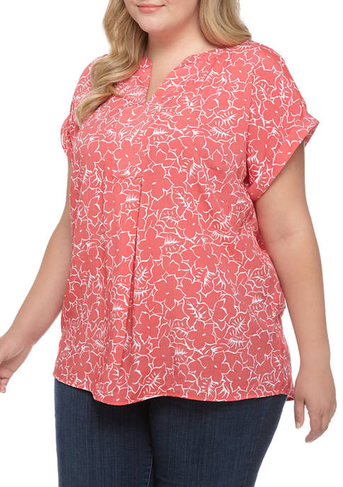Kim Rogers® Plus Size Printed Short Sleeve Popover