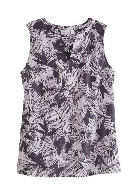 Kim Rogers® Womens Sleeveless Liano Palm Print Top
