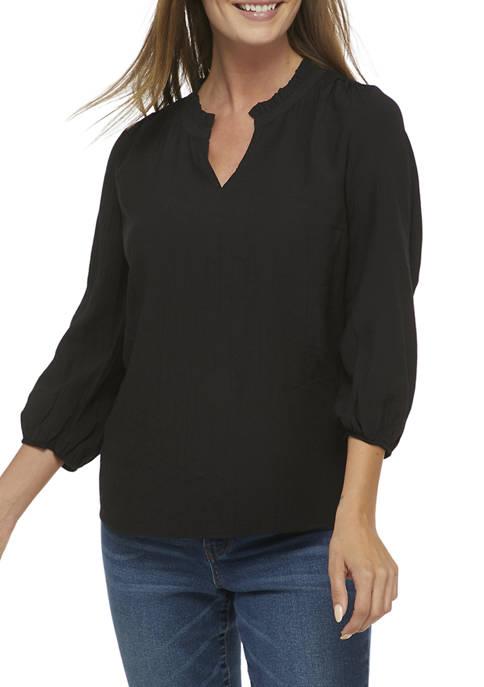 Kim Rogers® Womens 3/4 Bubble Sleeve Peasant Top