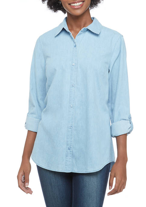 Kim Rogers® Petite 3/4 Sleeve Button Front Solid