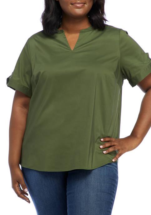 Plus Size Flare Sleeve Split Neck Top