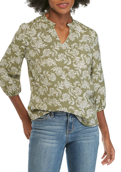 Kim Rogers® Petite Ruffle Neck Printed Popover Top