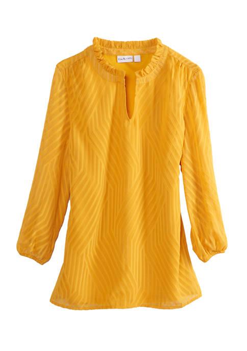 Kim Rogers® Womens 3/4 Sleeve Ruffle Neck Top