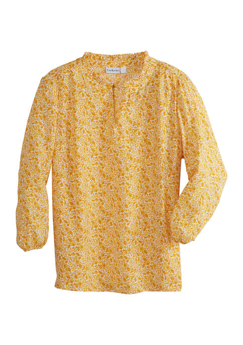Kim Rogers® Womens 3/4 Sleeve Ruffle Neck Floral